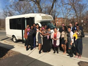 Chinara, donors, and the HBP team with the new van